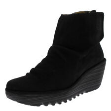 Womens Fly London Yomi Cupido Leather Suede Wedge Heel Black Ankle Boots US 5-11