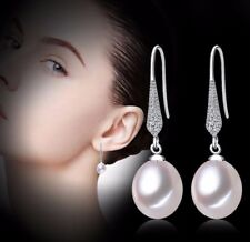 [NYMPH] pure natural pearl earrings, freshwater drop pearl fine jewelry gift