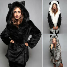 Luxury Women Winter Faux Fur Coat Thick Overcoat Long Hooded Outwear Tops New