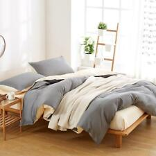 Simple Bright White And Grey Colour 4PC Bed Set Queen/King/Single Size