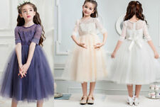 Girls lace Dress Flower Communion Pageant dress Formal Party Wedding Bridesmaid