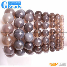 """Handmade Jewelry Natural Gray Agate Beaded Stretchy Bracelet Free Shipping 7"""""""