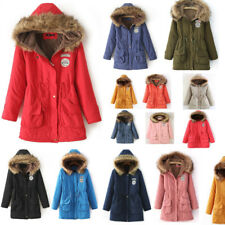 Ladies Fur Collar Coat Cardians Hoodie Applique Patch Winter Parka Hooded Jacket