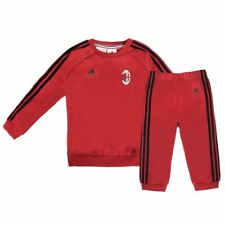 adidas AC Milan 3 Stripe Tracksuit Infants Red Football Soccer Top & Bottoms