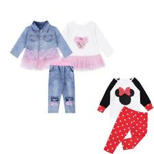 Cute Baby Girls Kids Outfits Tops T-shirt+ Polka Dot Long Pants 2PCS Set Clothes