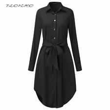 Women's Long Sleeve Shirt Dress  Lapel Neck Loose Shirt Dress Tunic Ladies