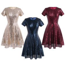 UK Womens Ladies Wedding Bridesmaid Sequin Cocktail Short Ball Evening Dress