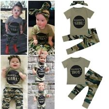 Camouflage Short Sleeve Tshirt Tops Green Long Pants Casual Outfit Baby Boy Girl