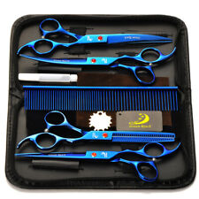 "7""Professional Pet Hair Cutting Scissors Dog/Cat Grooming Kit Curved Shears Set"