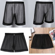 Men See Through Mesh Boxers Shorts Briefs Pouch Underpants Underwear Nightwear
