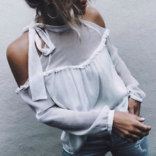 Women Trendy Sexy Loose Long Sleeve Chiffon Off Shoulder Casual Blouse T-Shirt