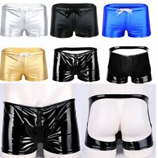Sexy Men's Latex Patent Leather Metallic Underwear Briefs Shorts Boxers Trunks