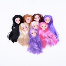 Quality Doll Head with Colorized straight Hair DIY Accessories For Barbie PO