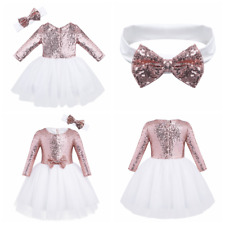 Kid Girls Mesh Sequined Tutu Dress Party Princess Pageant Wedding Bridesmaid New