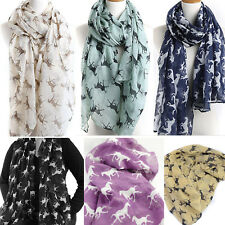 Fashion Women Scarf Horse Print Soft Voile Long Scarf Shawl Wrap Neck Stole Gift