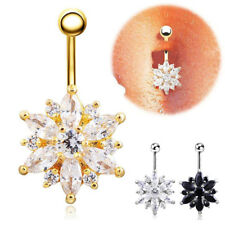 Hot Sale Womens Belly Button Crystal Rhinestone Body Piercing Navel Ring Jewelry