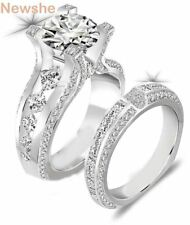 2.3 Ct Round Cut CZ 925 Sterling Silver Wedding Ring Set Engagement Band Classic