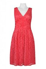 Maggy London V-Neck Sleeveless Zipper Back Pleated Ruched Banded Lace Dress Red