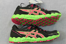 ASICS GEL FUJI TRAINER 2 Women BLACK PINK & GREEN RUNNING CROSS SNEAKERS NWT NIB