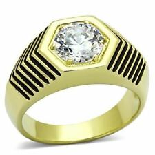 1076 MENS SIGNET PINKY SIMULATED DIAMOND 316L STEEL 14K RING SOLITAIRE NEW