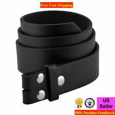BLACK BROWN PLAIN LEATHER BELT STRAP SNAP ON NO BUCKLE CASUAL DRESS MENS WOMENS