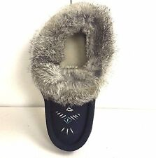 SALE! 50% OFF. CANADIAN NAVY BLUE SUEDE INDOOR MOCCASINS WITH GRAY RABBIT FUR