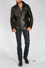 RICK OWENS New Man Black Leather MOUNTAIN Jacket Zipped Made in Italy NWT
