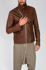 RICK OWENS New Man Leather MOUNTAIN Jacket MACASSAR Zipped Made in Italy NWT