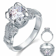 Victorian 2 Ct Created Diamond 925 Sterling Silver Bridal Engagement Ring FR8088