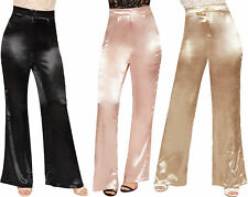 Womens High Waisted Wide Leg Flared Metallic Satin Palazzo Trousers Ladies Zip