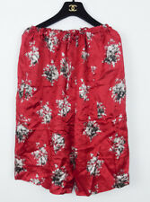 PAUL SMITH RED FLORAL SATIN DRAWSTRING CULOTTE SHORTS SIZE 40