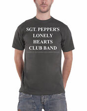 The Beatles T Shirt Sgt Pepper Lonely Hearts Club Band Official Mens New Grey