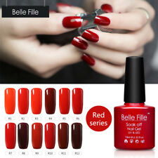 BELLE FILLE 10ml Red Colors TOP/BASE Soak Off Gel Polish Nail Art UV Varnish DIY