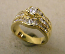 Lady's Yellow Gold or Rhodium Plated Fashion Solitaire Ring 29 CZ's size 8 New