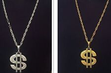 Bling $ Dollar Sign Pimp Gangster Hip Hop Chunky Metal Necklace Silver Or Gold