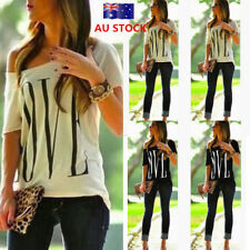 Women One Shoulder Short Sleeve T Shirt Letters Printied Casual Slim Top Blouse