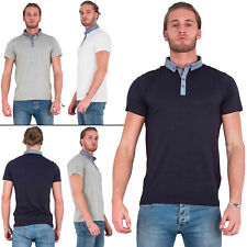 Mens Brave Soul T-Shirt Chambray Placket Mandarin Collar Short Sleeves Slim Fit