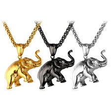 Vivid Stainless Steel Elephant Pendant Necklaces 18K Gold Plated Mens Jewelry