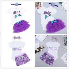 Toddler Baby Girls Mermaid Short Sleeve Romper Shorts Tutu Skirt Clothes Outfits