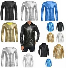 Men's Patent Leather Tops Tee Shirt Slim Fit Long Sleeve Casual T-Shirt Clubwear