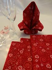Valentine's day dinner or cocktail napkins. Valentine's day table decor.