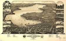 Poster Print Antique USA Cities Towns States Map Lake Geneva Walworth Wisconsin