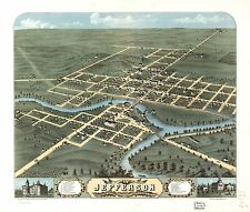 Poster Print Antique American Cities Towns States Map Jefferson Wisconsin
