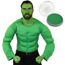 MENS GREEN MUSCLE CHEST TOP AND FACE PAINT SUPERHERO MOVIE FANCY DRESS COSTUME