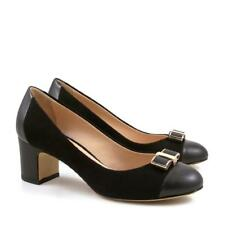 Handmade italian pumps shoes in black suede leather medium heels - Leonardo Shoe