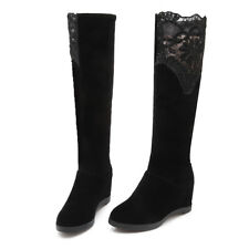 NEW Womens High Heel Knee High Boots Shoes Wedge Increase Lace AU Size YDXS1387