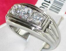 491 MENS SIGNET PINKY 3STONE SIMULATED DIAMOND MANS RING STAINLESS  STEEL 316L
