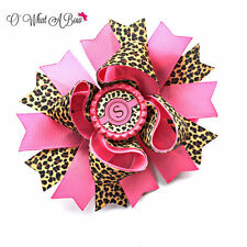 Pink Cheetah Hair Bow Personalized Leopard Print Hairbow For Girls Handmade