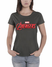 The Avengers T Shirt Marvel Comics Logo Official Womens New Charcoal Skinny Fit