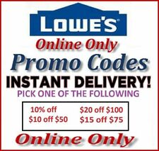 Lowes Promotional Discount Savings 10%, 20 off 100, 15 off 75, 10 off 50 Codes